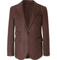 MAN 1924 Brown Kennedy Slim-Fit Unstructured Herringbone Linen Blazer