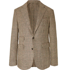 MAN 1924 Beige Kennedy Slim-Fit Unstructured Prince of Wales Checked Linen Blazer
