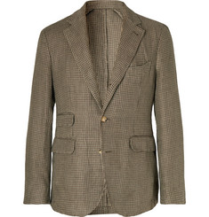 MAN 1924 Brown Kennedy Slim-Fit Unstructured Houndstooth Linen Suit Jacket
