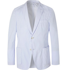 Officine Generale Sky-Blue Unstructured Cotton-Poplin Blazer