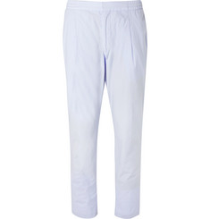 Officine Generale Sky-Blue Drew Slim-Fit Cotton-Poplin Drawstring Suit Trousers