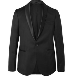Officine Generale Black Slim-Fit Satin-Trimmed Wool and Mohair-Blend Twill Tuxedo Jacket