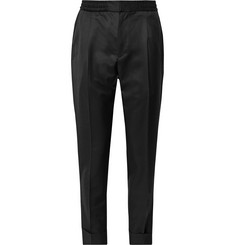 Officine Generale - Black Drew Slim-Fit Pleated Wool and Mohair-Blend Twill Drawstring Tuxedo Trousers
