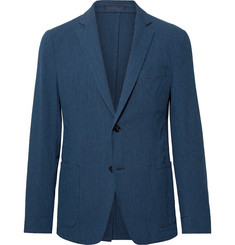 Officine Generale Navy Slim-Fit Cotton-Blend Seersucker Suit Jacket