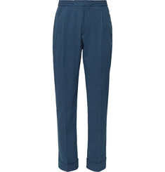 Officine Generale Navy Drew Slim-Fit Cotton-Blend Seersucker Drawstring Suit Trousers