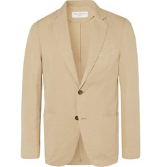 Officine Generale Tan Slim-Fit Unstructured Garment-Dyed Cotton and Linen-Blend Suit Jacket
