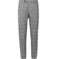 Mr P. Slim-Fit Checked Cotton-Blend Cropped Trousers