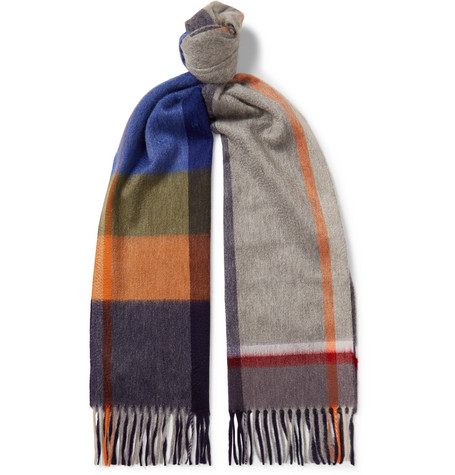Arran Fringed Checked Cashmere Scarf by Begg &Amp; Co