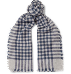 Begg & Co - Beaufort Fringed Checked Wool and Cashmere-Blend Scarf