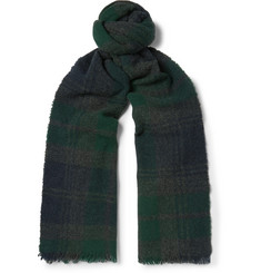 Begg & Co - Beaufort Fringed Checked Lambswool and Cashmere-Blend Scarf