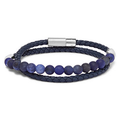 TATEOSSIAN Woven Leather and Sodalite Wrap Bracelet