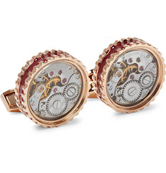 TATEOSSIAN - Gear Rose Gold-Plated and Enamel Cufflinks