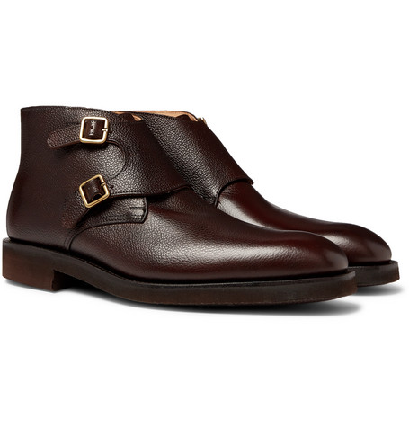 Fry Full-grain Leather Monk-strap Boots - Brown
