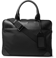 Montblanc - Sartorial Jet Nylon-Panelled Cross-Grain Leather Briefcase
