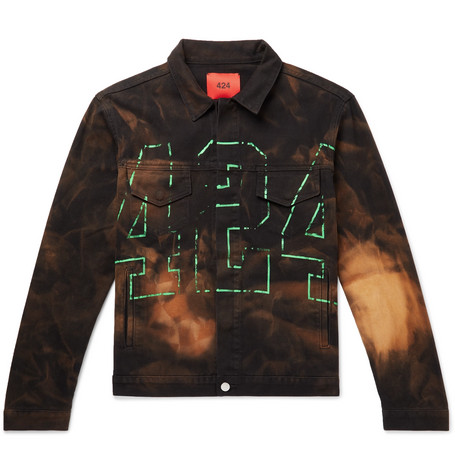 Logo Print Tie Dyed Denim Jacket by 424