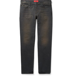 424 Dark-Grey Slim-Fit Distressed Cotton-Canvas Trousers