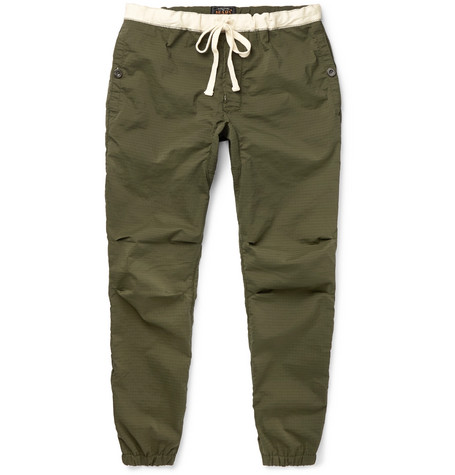 Slim Fit Tapered Drawstring Ripstop Trousers by Beams Plus