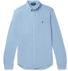 Polo Ralph Lauren Slim-Fit Button-Down Collar Mélange Cotton-Piqué Shirt