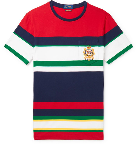 Polo Ralph Lauren – Logo-embroidered Striped Cotton-jersey T-shirt – Red