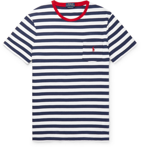 66ac8b8b Polo Ralph Lauren Striped Cotton-Jersey T-Shirt - Navy | ModeSens