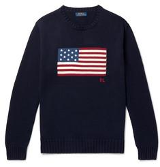 폴로 랄프로렌 성조기 자수 인타르시아 코튼 스웨터 - 네이비 Polo Ralph Lauren Embroidered Intarsia Cotton Sweater,Navy