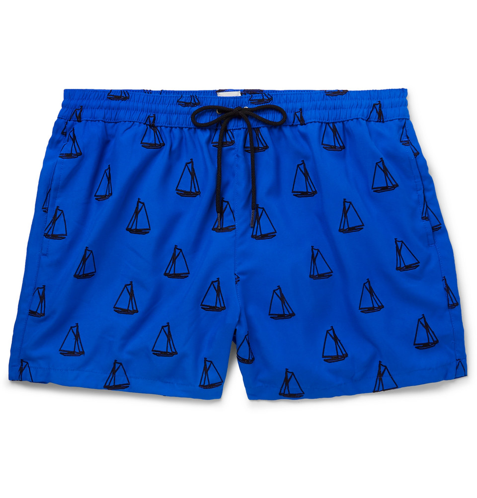 Mid-length Embroidered Swim Shorts - Navy