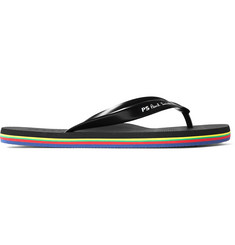 Paul Smith Striped Logo-Print Rubber Flip Flops