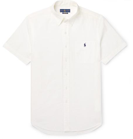 87260129a8ed Polo Ralph Lauren - Slim-Fit Button-Down Collar Cotton-Seersucker ...