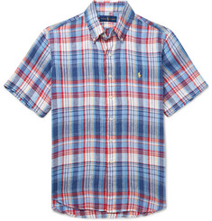 Polo Ralph Lauren Button-Down Collar Checked Linen Shirt