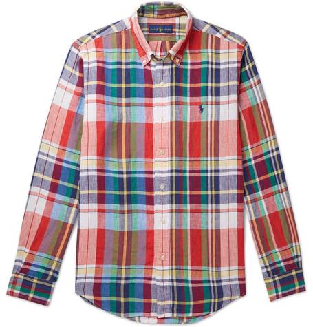 beab49e3a Polo Ralph Lauren - Button-Down Collar Checked Linen Shirt