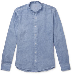 Altea Brent Grandad-Collar Garment-Dyed Linen Shirt
