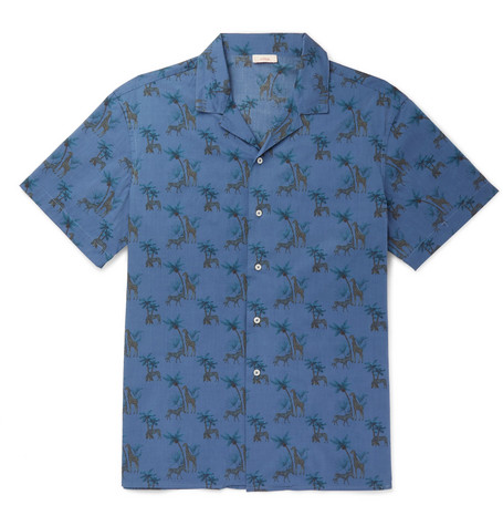 Camp Collar Indigo Dyed Printed Cotton Shirt by Altea