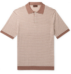 Altea - Striped Linen and Cotton-Blend Polo Shirt