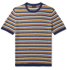 Altea Striped Knitted Cotton and Linen-Blend T-Shirt