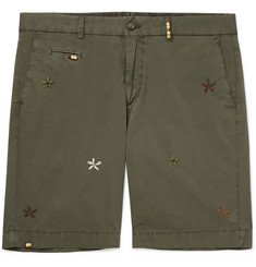Altea Milano Slim-Fit Embroidered Cotton-Blend Shorts