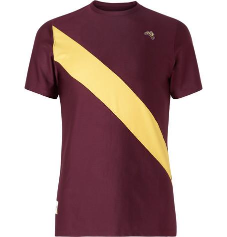 TRACKSMITH Van Cortlandt Striped Stretch-Mesh T-Shirt in Burgundy