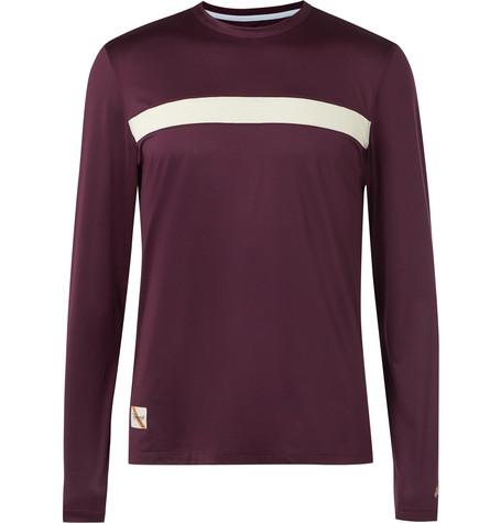 TRACKSMITH Twilight Striped Stretch-Mesh T-Shirt in Burgundy