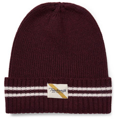 Tracksmith Varsity Striped Ribbed Merino Wool Beanie