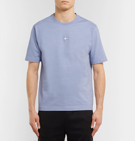 Logo Embroidered Cotton Jersey T Shirt by Stone Island
