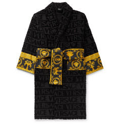 Versace - Poplin-Panelled Logo-Jacquard Cotton-Terry Robe