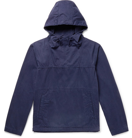 ALBAM | Albam - Johnson Garment-dyed Washed-cotton Hooded Jacket - Navy | Goxip