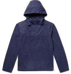 Johnson Garment-dyed Washed-cotton Hooded Jacket - Navy