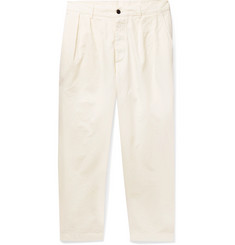 Albam Tapered Pleated Garment-Dyed Cotton Trousers