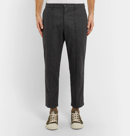 Cropped Mélange Flannel Trousers by Ymc