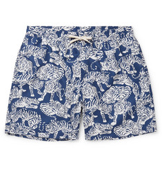 YMC Wide-Leg Mid-Length Printed Swim Shorts