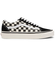Vans Anaheim Factory Old Skool 36 DX Leather-Trimmed Checkerboard Canvas and Suede Sneakers