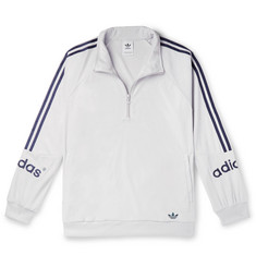 adidas Originals Logo-Embroidered Striped Velour Half-Zip Sweatshirt