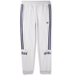 adidas Originals Tapered Logo-Embroidered Striped Velour Sweatpants