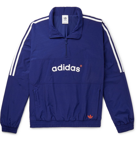 Arc Logo Embroidered Striped Shell Half Zip Track Jacket by Adidas Originals
