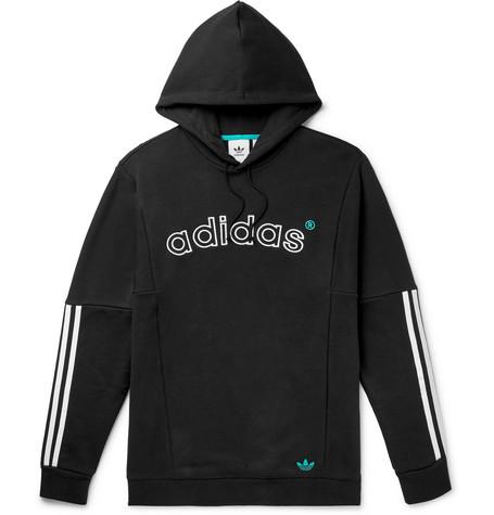 adidas Originals – Arc Logo-embroidered Striped Loopback Cotton-jersey Hoodie – Black